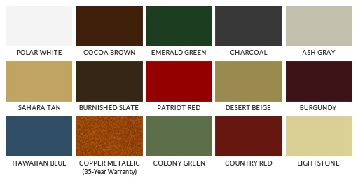 Color Guide. Security Metal Roofing ...